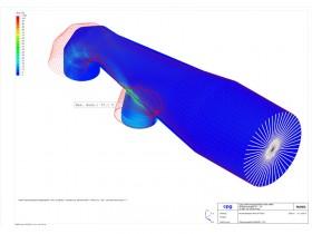 FEM-Rohrabschnitt mit Randpunktverschiebung und Spannungsauswertung